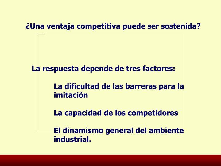¿Una ventaja competitiva puede ser sostenida?