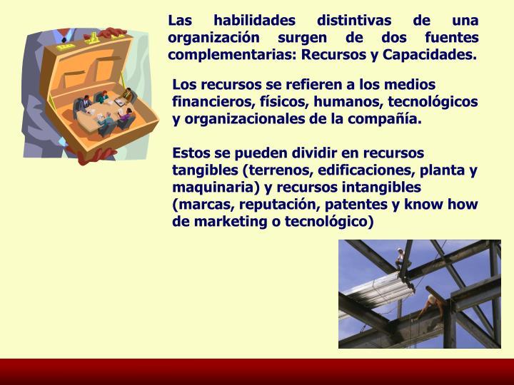 Las habilidades distintivas de una organización surgen de dos fuentes complementarias: Recursos y Capacidades.