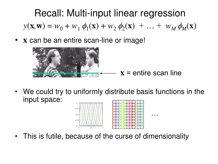 Recall multi input linear regression