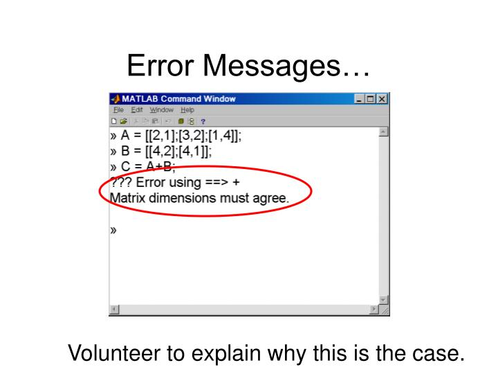 Error Messages…