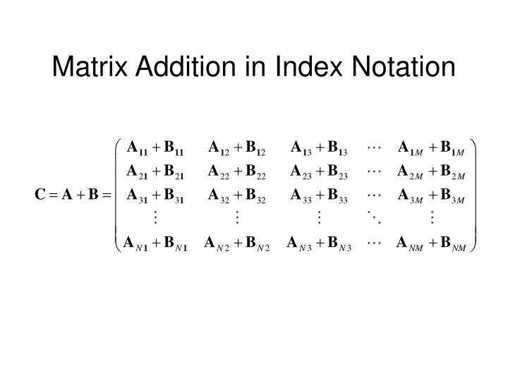 Matrix Addition in Index Notation