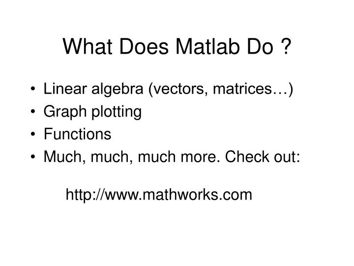 What Does Matlab Do ?