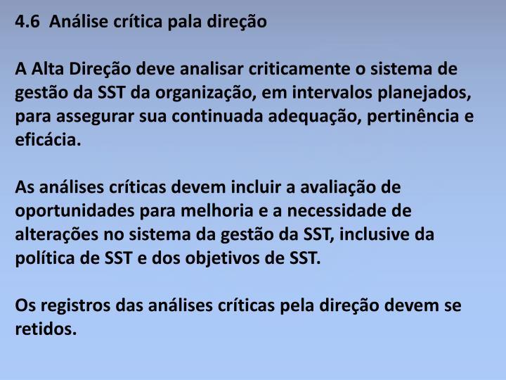 4.6  Análise crítica pala direção