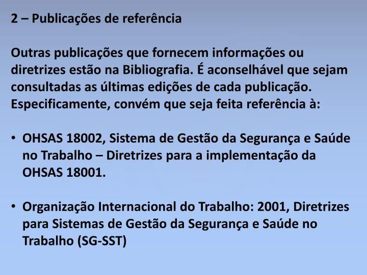 2 – Publicações de referência