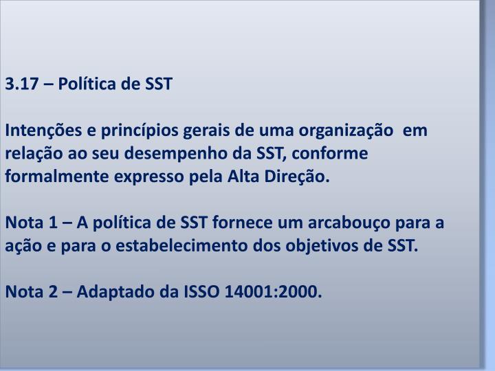 3.17 – Política de SST