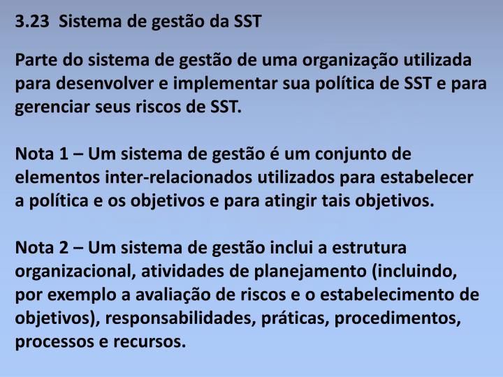 3.23  Sistema de gestão da SST