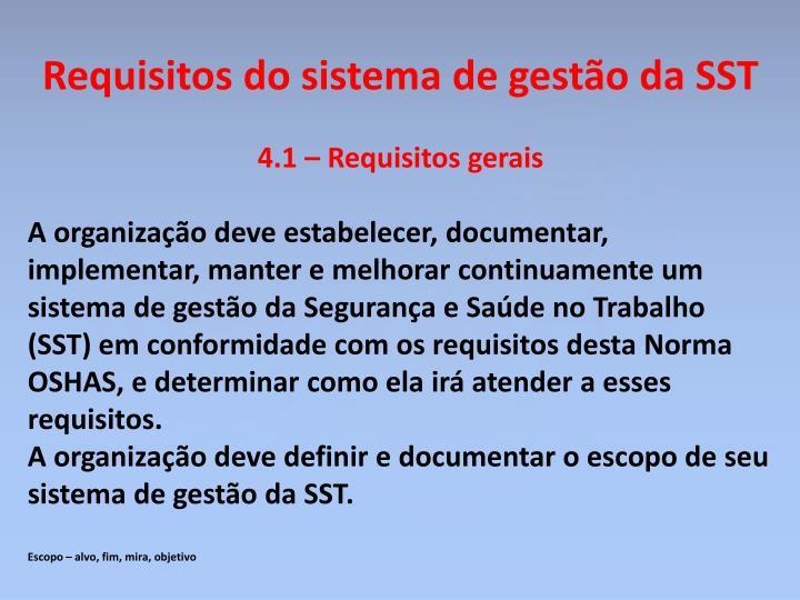 Requisitos do sistema de gestão da SST