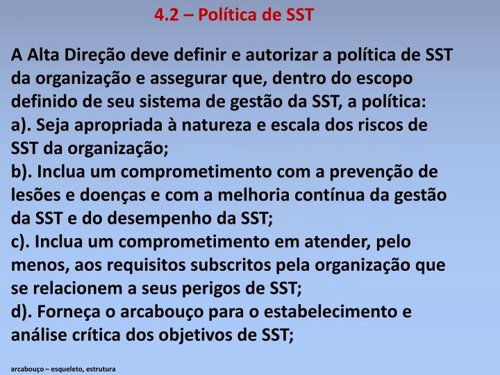 4.2 – Política de SST