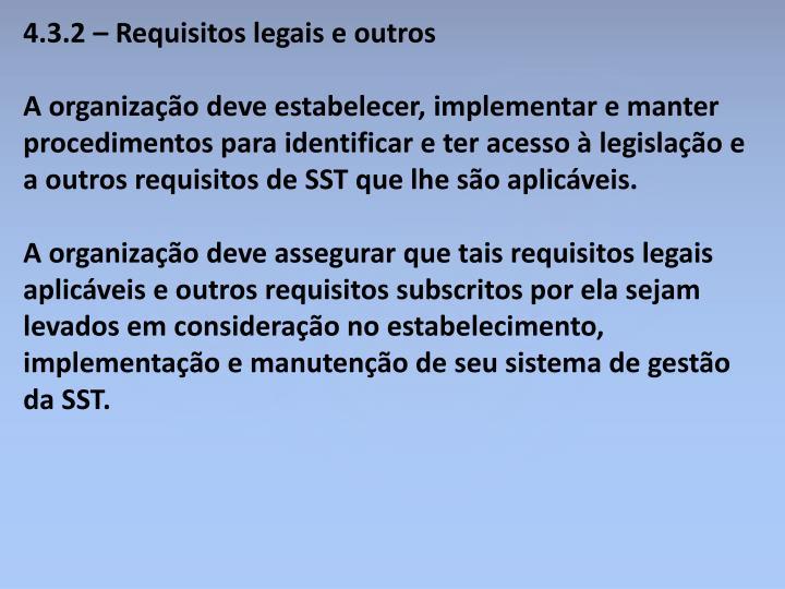 4.3.2 – Requisitos legais e outros