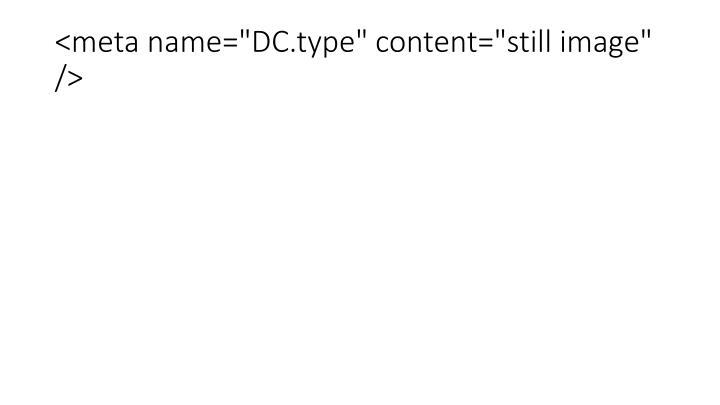 "<meta name=""DC.type"" content=""still image"" />"
