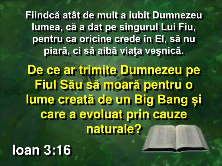 Fiindcă atât de mult a iubit Dumnezeu lumea, că a dat pe singurul Lui Fiu, pentru ca oricine crede în El, să nu piară, ci să aibă viaţa veşnică.