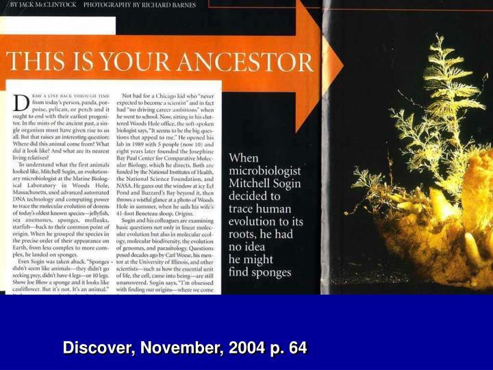 Discover, November, 2004 p. 64