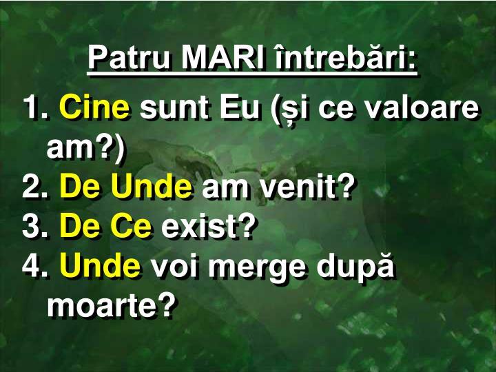 Patru MARI întrebări:
