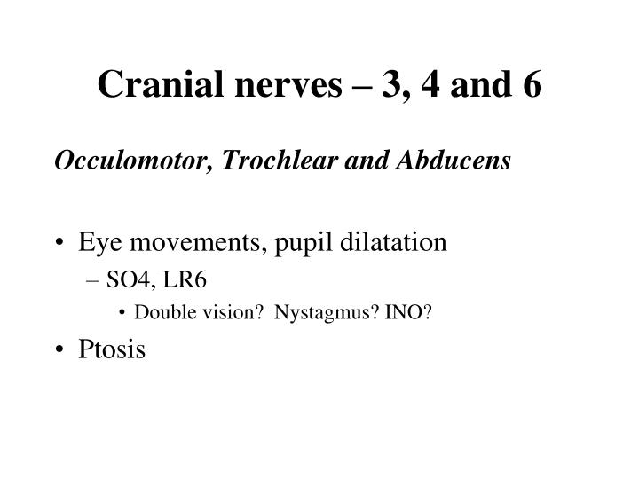 Cranial nerves – 3, 4 and 6