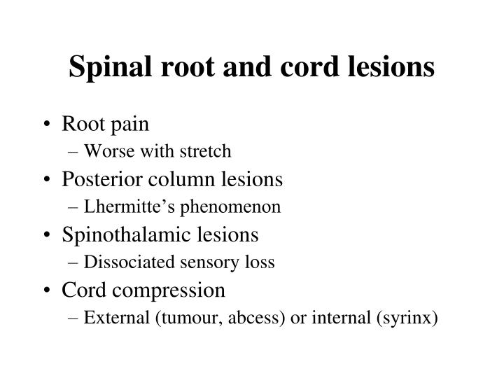 Spinal root and cord lesions