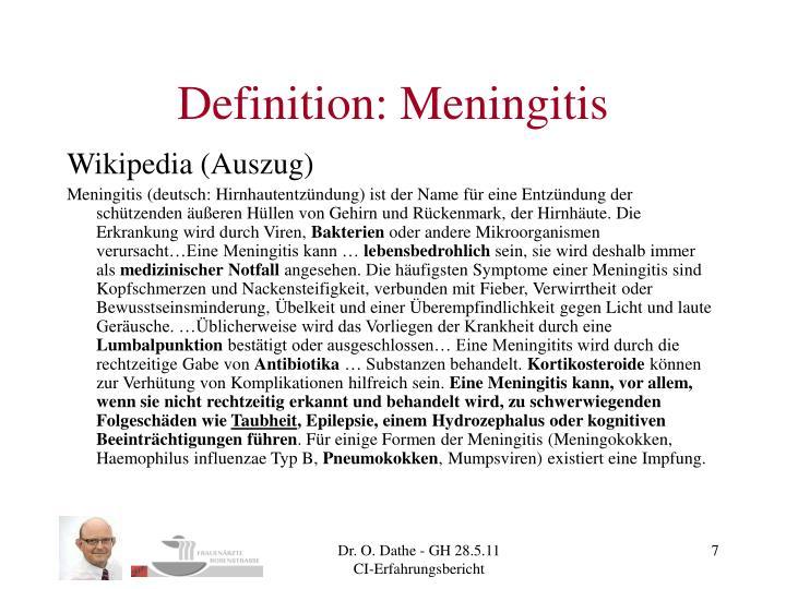 Definition: Meningitis