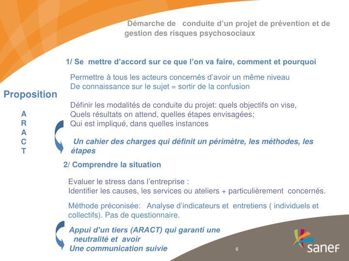 Démarche de   conduite d'un projet de prévention et de gestion des risques psychosociaux