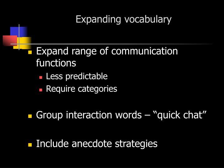 Expanding vocabulary