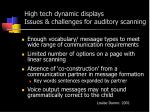 high tech dynamic displays issues challenges for auditory scanning
