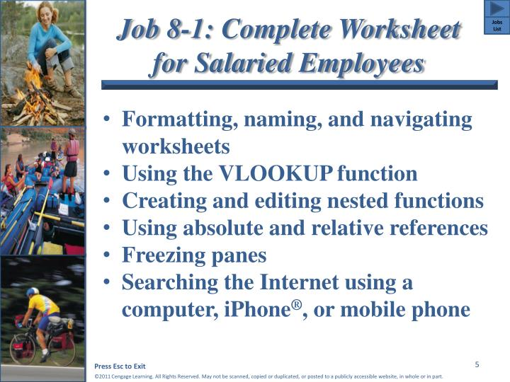 Job 8-1: Complete Worksheet