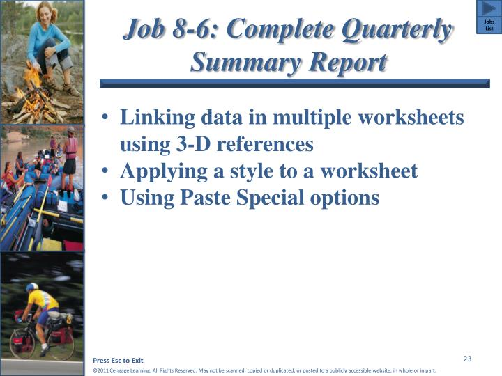 Job 8-6: Complete Quarterly Summary