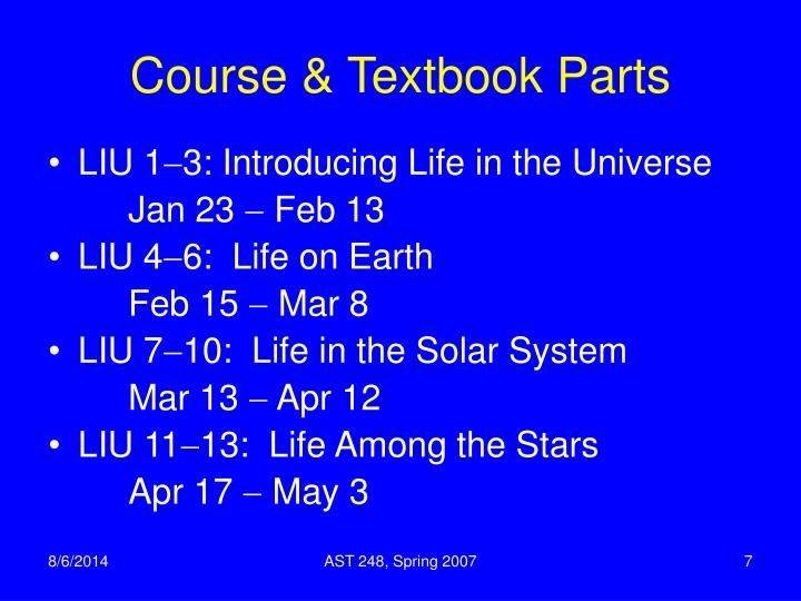 Course & Textbook Parts