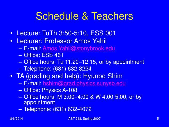 Schedule & Teachers