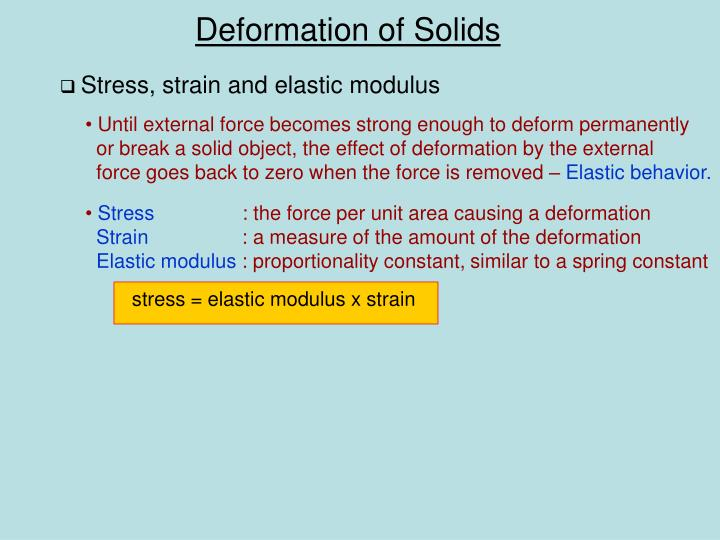 Stress, strain and elastic modulus
