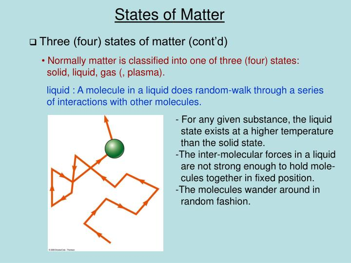 Three (four) states of matter (cont'd)