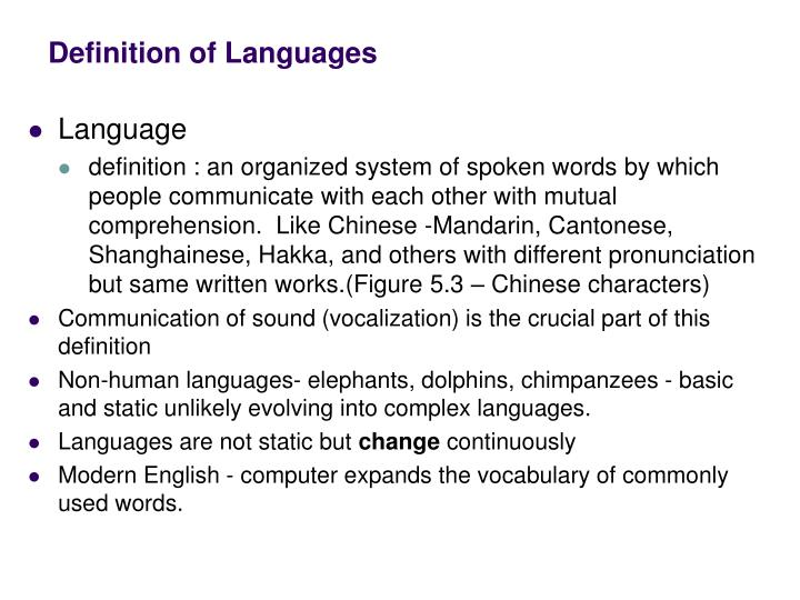 Definition of languages
