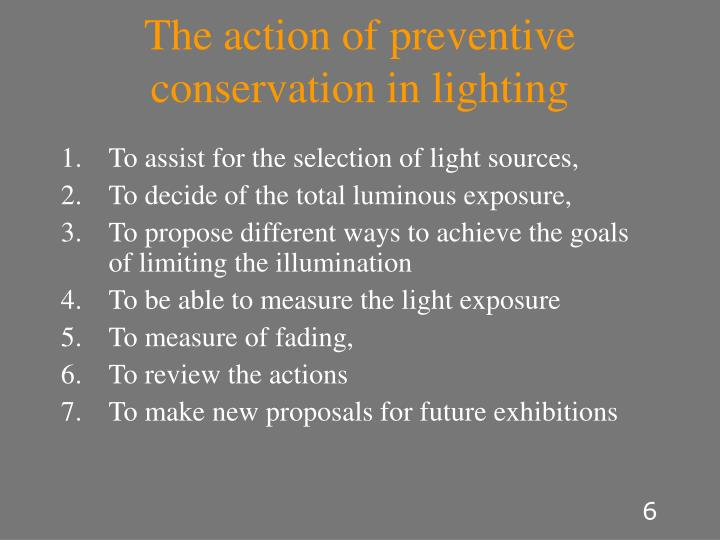 The action of preventive conservation in lighting