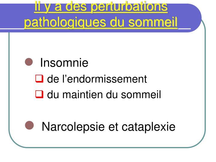 Il y a des perturbations pathologiques du sommeil