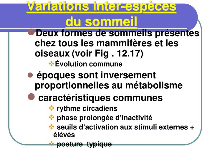 Variations inter-espèces