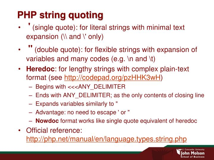 Php string quoting