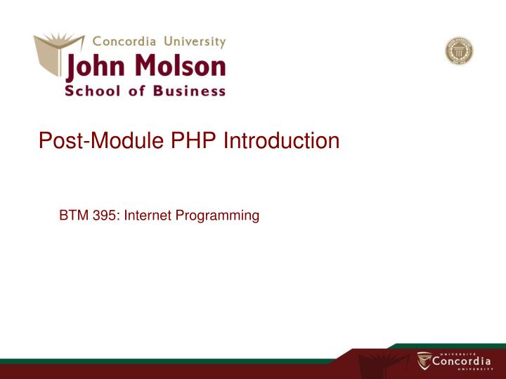 Post module php introduction
