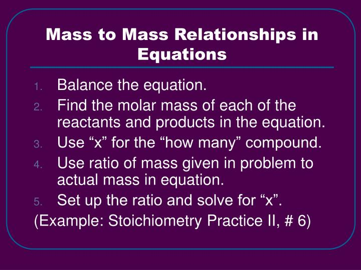 Mass to Mass Relationships in Equations