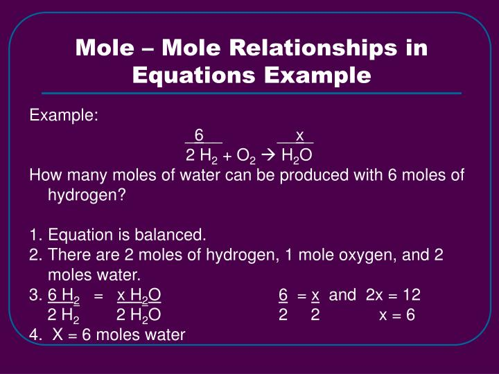 Mole – Mole Relationships in Equations Example