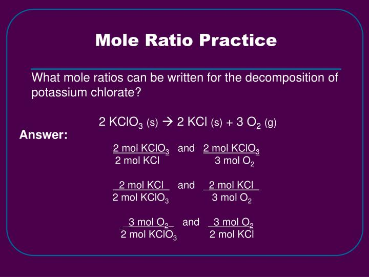 Mole Ratio Practice