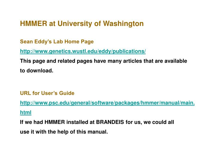 HMMER at University of Washington
