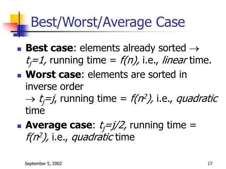 Best/Worst/Average Case