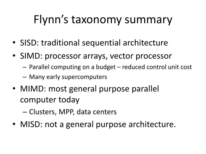 Flynn's taxonomy summary