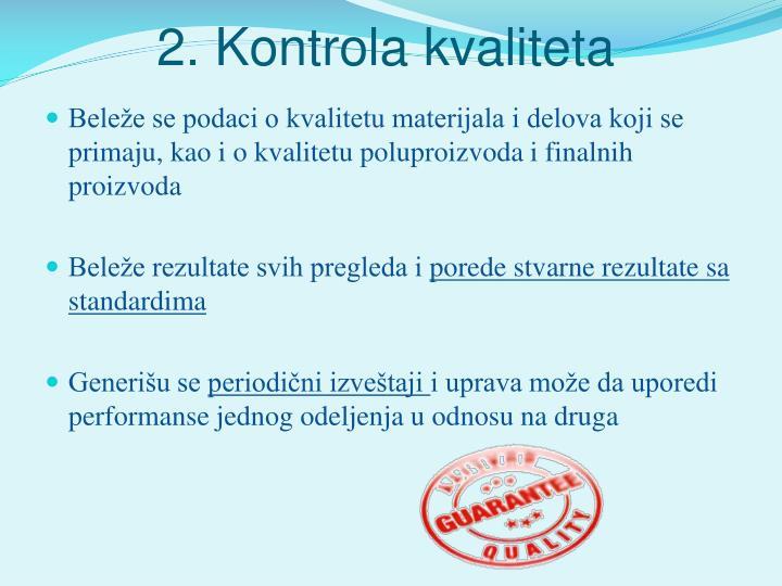 2. Kontrola kvaliteta