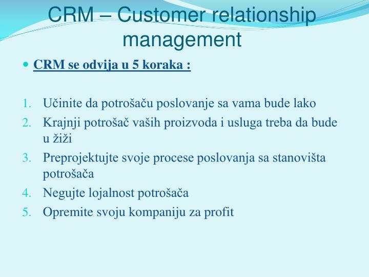 CRM – Customer relationship