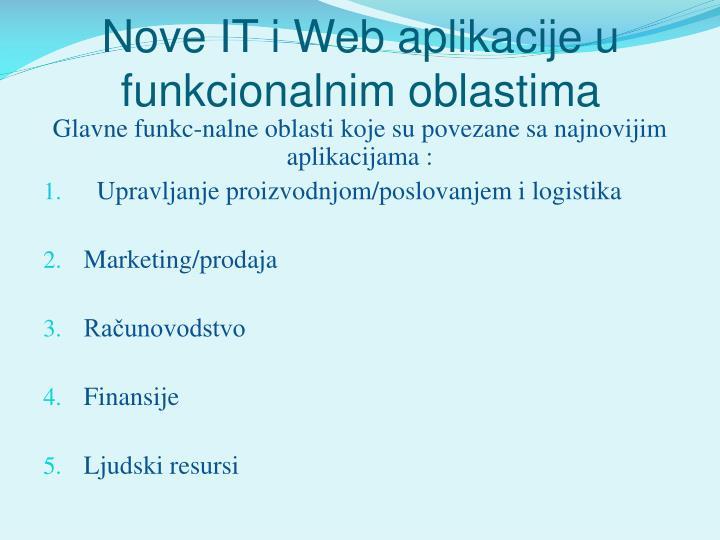 Nove IT i Web aplikacije u funkcionalnim oblastima