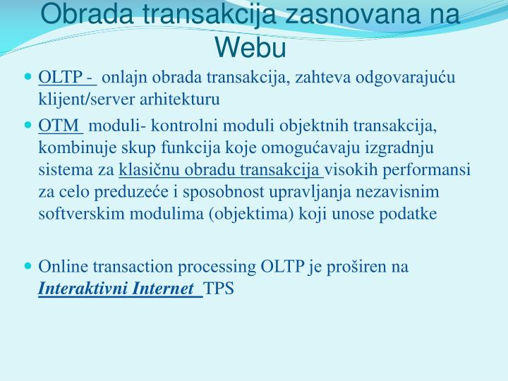 Obrada transakcija zasnovana na Webu