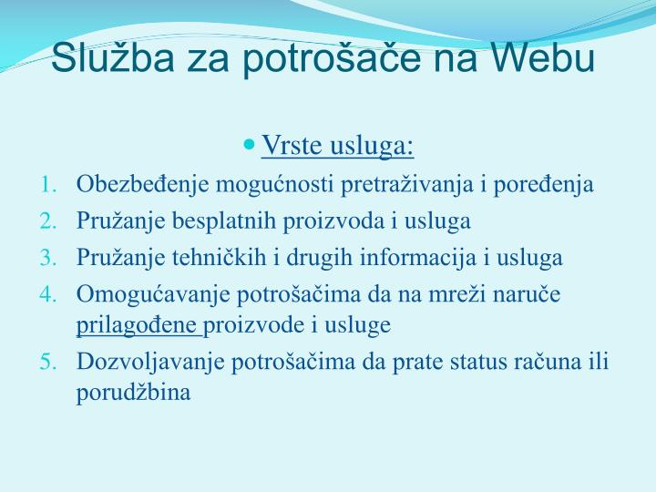 Služba za potrošače na Webu