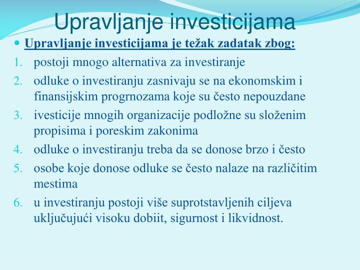 Upravljanje investicijama