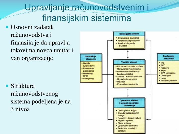 Upravljanje računovodstvenim i finansijskim sistemima