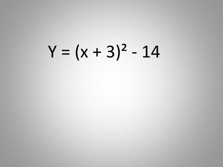 Y = (x + 3)² - 14