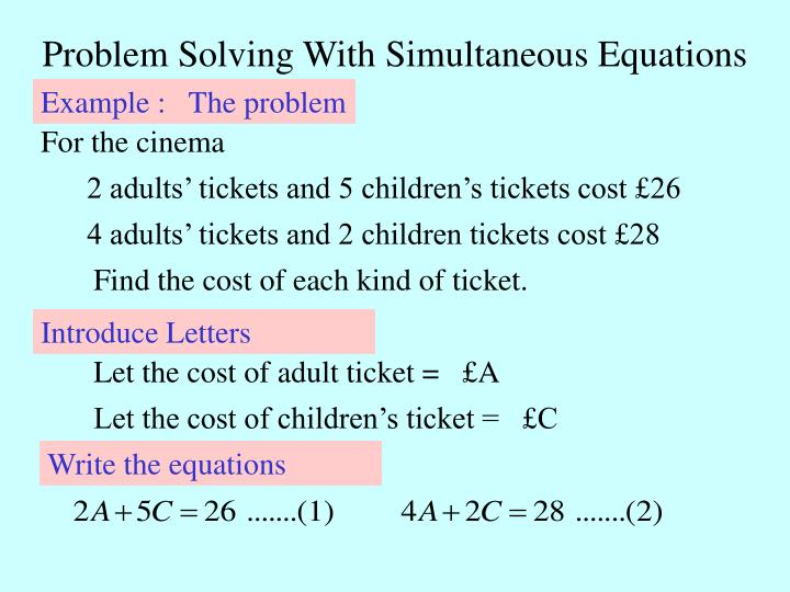 Problem Solving With Simultaneous Equations